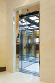 Shiny elevator with open door — Photo