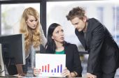 Three people working in office — Stock Photo