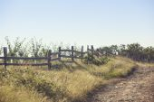 Dirt road and wooden fence — Stock Photo