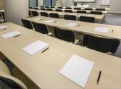 Desks in rows ready for exam — Stock Photo