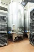 Alluminium tank in winemaking factory — Stockfoto
