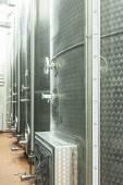Alluminium tanks in winemaking factory — Stockfoto