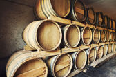 Barrels stacked in a wine cellar — Stockfoto