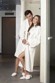 Couple in bathrobes at spa center — Stok fotoğraf