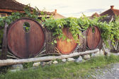 Barrel fence of a winery — Stock Photo