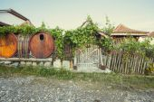 Barrel fence of a winery resort house — Stock Photo
