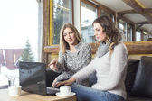 Two girlfriends having coffee and looking at laptop — Stock Photo