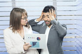 Frustrated businessman being criticized by manager — Stockfoto