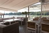 Modern riverside cafe terrace — Foto Stock