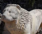 Scultura antica del leone — Foto Stock