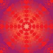 Abstracte patroon van harten een cirkel op paarse achtergrond — Stockvector