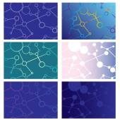 Set Of Abstract Backgrounds Of Intersecting Lines And Circles — Stock Vector