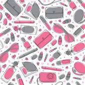 Gray and pink girl stuff - Vector seamless pattern. — Stock Vector