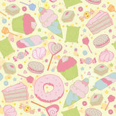 Sweet heart seamless pattern - sweets, cupcakes, candy and cake — Stock Vector