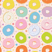 Sweet colorful donuts vector seamless background — Stock Vector
