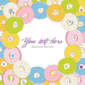 Doce convite com donuts coloridos — Vetor de Stock