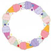 Moldura redonda doce com sorvete colorido — Vetor de Stock