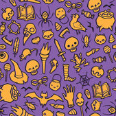 Halloween object seamless vector background — Stock Vector