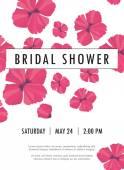 Convite nupcial do chuveiro com vetor delicado de brotos e flores papoula — Vetor de Stock