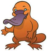Funny cute cartoon platypus or duckbill — Stock Vector