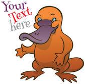 Funny happy cartoon platypus or duckbill vector template — Stock Vector