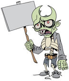 Cartoon zombie with a poster — Stock Vector