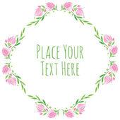 Розовые цветы и новый зеленый векторный акварельный рисунок руки листьев — Cтоковый вектор