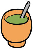 Cup for mate - gourd and bombilla vector drawing — Stock Vector