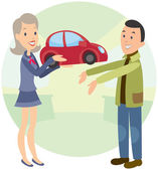 Joyful woman gives man car — Stock Vector