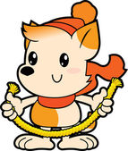 Series cartoon little dog holding thick rope — Wektor stockowy