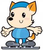Series cartoon little dog racing skater — Stock Vector