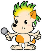 Cartoon little dog with punk haircut sings karaoke — Stock Vector