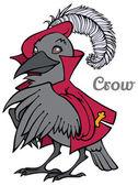 Vector cartoon crow in jacket and beret — Stock Vector