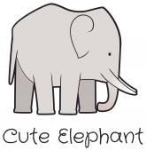 Cartoon cute elephant vector — Stock Vector