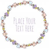Vector round frame with ghosts and evil eye — 图库矢量图片