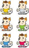 Small dreadlocks dog multicolored football uniform with soccer ball - blue green red orange yellow white — Wektor stockowy