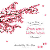 Invitation bridal shower card with sakura vector template — Stock Vector