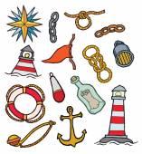 Marine symbolic objects — Stock Vector