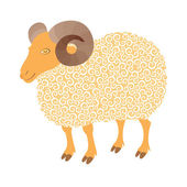 Cute sheep with curl — Stock Vector