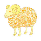 Cute sheep with golden curl — Stock Vector