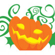 Pumpkin with decorative swirls and leaves — Stock Vector #61959787