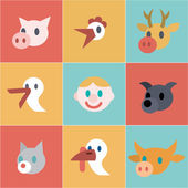 Collection of simple icons pets — Stock Vector