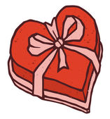 Valentines day gift heart shaped box of candy with decorative bow — Stockvector