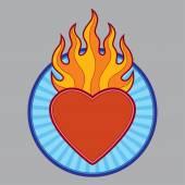 Burning flaming heart — Stock Vector