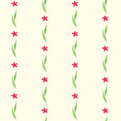 Gentle seamless pattern of red flowers and green leaves — Stock Vector