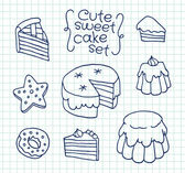 Freehand drawing cute cake on sheet of exercise book — Stock Vector
