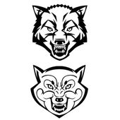 Wolfs heads showing teeth — Stock Vector
