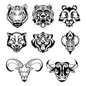 SET heads of wild animals and their victims — Stock Vector
