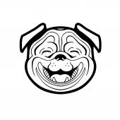 Perky pug smiling — Stock Vector