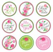 Personalized Candy Sticker Labels with rose — Stock Vector